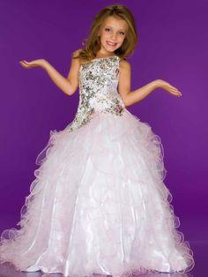 girls ball gowns | ... Court Train Organza Pink Ball Gown Girls Pageant Dress P3md0079