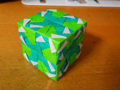 ユニット折り紙 立方体 green ver. 【Modular origami】