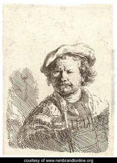 Self-Portrait in a flat Cap and embroidered Dress 2 - Rembrandt Van Rijn - www.rembrandtonline.org