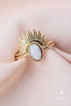 Our Opal Sunburst ring set features a dainty opal solitaire ring and a radiant sunburst ring topper. Wear them together or solo. Available in gold or silver, sizes 5-9. Dainty Jewelry, Vintage Jewelry, Initial Necklace, Solitaire Ring, Opal, Gemstone Rings, Jewelry Design, Jewels, Piercing
