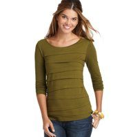 Layered Strips Long Sleeve Tee - Asymmetrical strips give this oh-so-soft tee a dose of offbeat cute. Scoop neck. Long sleeves. Banded neckline. Asymmetrical strip front. Solid back.