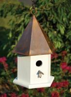 Cerne Copper Songbird Birdhouse, Brown Patina Roof