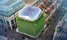 Vincent Callebaut designed the Botanic Center Bloom, a solar and wind-powered building covered in a lush green envelope. Amazing Greens, Solar Power System, Green Architecture, Smart City, Lush Green, Bloom, Urban, Green Roofs, Outdoor Decor