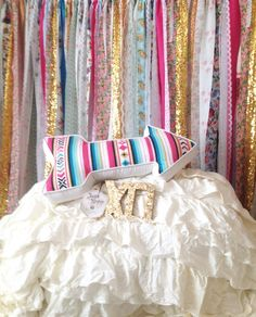 Boho Backdrop Hippie Curtains Boho Curtain Junk Gypsy Decor Rustic Rag  Fabric Ribbon Garland Teen Room Dorm Glamping Bed Headboard Nursery