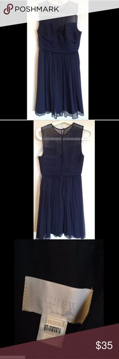 """J. Crew Clara Short Dress Silk Chiffon in Navy Silk chiffon newport navy dress from J. Crew in like new condition. No visible defects or flaws. Original owner. From a pet-free and smoke-free home.   This dress was worn once for a wedding and then promptly dry cleaned. There's a dry cleaning identification sticker on the tag.   28"""" bust 24"""" waist 36"""" shoulder to bottom hem  Stock photo of the dress in cream is informational only. The dress for this listing is newport navy.  I'm also selling…"""