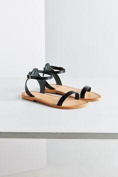 1e2ca82b0ac7 Hazel Leather Thin Strap Sandal Ankle Strap Flats