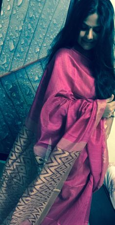 Tusser silk pink n golden sari