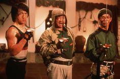 """Jackie Chan, Sammo Hung and Yuen Biao in """"Wheels on Meals""""."""