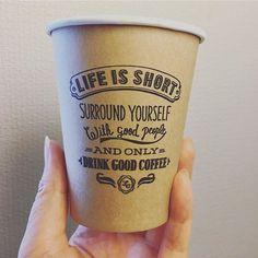カップにあった言葉。なんかいいな。だれかの引用かな。 . #wisdom #lifeisshort #coffeecup #papercup Best Coffee Shop, Hot Coffee, Coffee Time, Coffee Cups, Tea Design, Coffee Shop Design, Paper Cup Design, Coffee Cup Drawing, Coffee Cup Sleeves