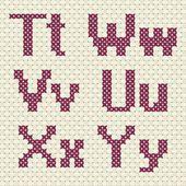 Cross stitch alphabet and number. — Vetor de Stock #76602307