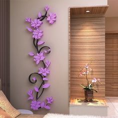 Removable 3D Vase Flower Tree Crystal Arcylic Wall Stickers Decal Home Decor J