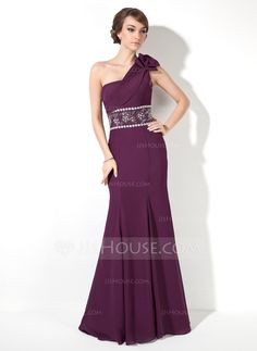Evening Dresses - $129.99 - Trumpet/Mermaid One-Shoulder Floor-Length Chiffon Evening Dress With Ruffle Beading Bow(s) (017005817) http://jjshouse.com/Trumpet-Mermaid-One-Shoulder-Floor-Length-Chiffon-Evening-Dress-With-Ruffle-Beading-Bow-S-017005817-g5817?snsref=pt&utm_content=pt