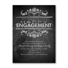 Chalkboard News - Engagement Party Invitation Item Number A vintage chalkboard design shares your modern happy news on this engagement party invitation. The black and white scrolls and dots make it sweet. Pre Wedding Party, Bridal Shower Party, Wedding Shower Invitations, Engagement Party Invitations, Chalkboard Designs, Vintage Chalkboard, Chalkboard Art, Engagement Celebration, Engagement Parties