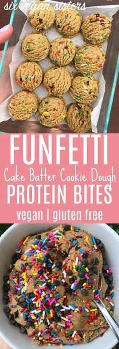Funfetti Cake Batter Cookie Dough Protein Bites - Vegan | Gluten Free @sixvegansisters