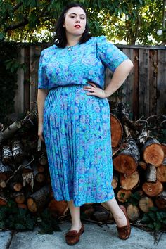Plus Size - Vintage Blue Abstract Print Pleated Skirt Shirt Dress  by TheCurvyElle, $45.00