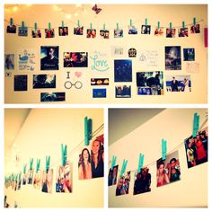 Successful DIY Pinterest inspired photo clothesline! Perfect and easy to do in a res hall :)