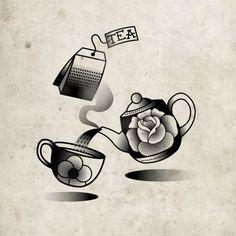Black and White Tattoo Flash OLD SCHOOL | white black fun tattoo rose oldschool flash teapot