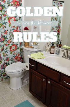 A lot of messes can happen in the bathroom, follow these simple rules for how to clean a bathroom without spending hours cleaning up after everyone else.  visit TidyMom.net for details
