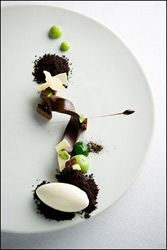 wd-50 dessert /  soft chocolate ribbon with avocado creme, licorice and lime sorbet