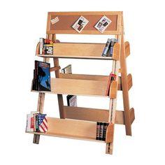 Six-Shelf A-Frame Media Displayer with Corkboard Header