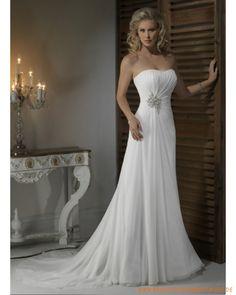 2013 Brautkleid aus Chiffon schulterfreier Ausschnitt mit gerafftem Korsett Schmaler scheidenförmiger Rock
