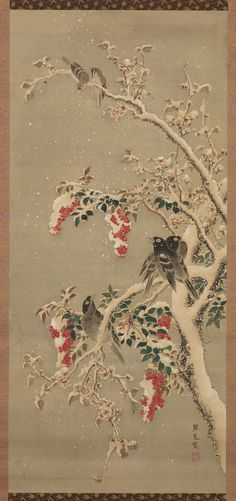 'Birds and Fruit in Snow' (19th century). Formerly attributed to Kumashiro Yuhi (Japanese, 1693–1772). Ink and colour on silk.