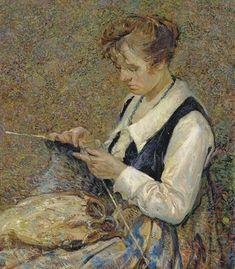 John Edward Costigan (1888-1972) Woman Knitting