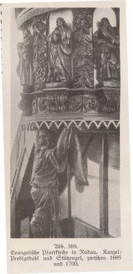 Rudau Kr. Samland, Ev. Pfarrkirche, Kanzel: Predigtstuhl und Stützengel…