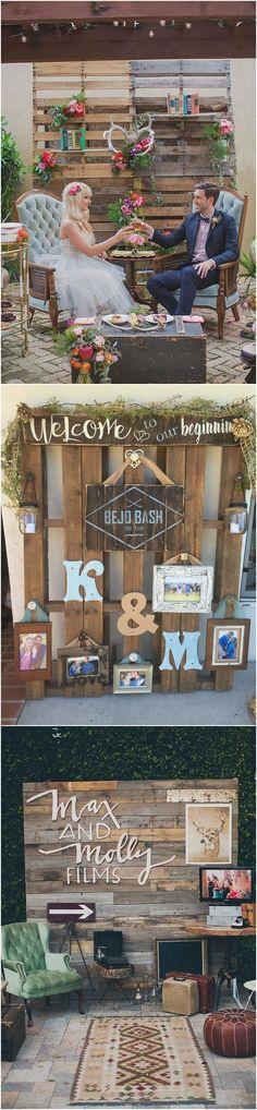 rustic wood pallet wedding photo display #rusticwedding #countrywedding #country #wooden #wedding #weddingideas #weddingdecor / http://www.deerpearlflowers.com/rustic-country-wooden-pallet-wedding-ideas/