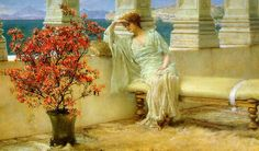 """""""Her Eyes are with Her Thoughts and They are Far Away"""", 1897, by Sir Lawrence Alma-Tadema (Dutch, 1836-1912)."""