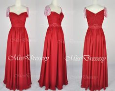 A Line Cap Sleeves Sweetheart Neck with Beading Silk Red Evening Gown, Wedding Party Dresses, Evening Dresses