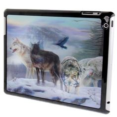 For+iPad+4+3D+Effect+Style+Wolf+Pack+Pattern+Plastic+Protector+Case