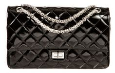 Chanel Black Patent Leather Double Flap 226 Reissue Handbag