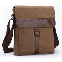 2014 Buy Men's Solid color canvas coffee shoulder oblique-arm cover Messenger Bags $27.60
