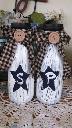 Crackle paint starbucks  frappuccino salt and pepper shakers