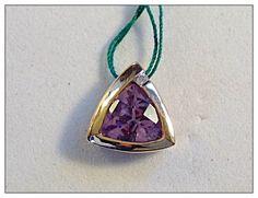 $195 Value $325 #14K #Gold #Faceted #Purple #Amethyst #Gemstone #Pendant Slide #ValentinesDay 14K Gold Purple Amethyst Gemstone Pendant Slide faceted trillium cut triangle #Handmade #Pendant