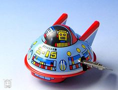 Tin toy - ブリキオモチャ Flying Saucer, Tin Toys, Vintage Toys, Fancy, Old Fashioned Toys, Old School Toys
