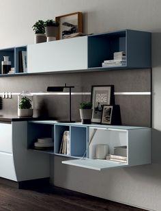 wohnwand mit schreibtisch als arbeitsplatz im wohnzimmer king queen wohnideen pinterest. Black Bedroom Furniture Sets. Home Design Ideas