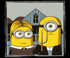 Minions Invade Famous Artwork An ode to Vincent van Gogh's Self-Portrait with Bandaged Ear You don't have to be a kid to recognize these goofy yellow bundles of joy. Minions made their debut in the. Grant Wood American Gothic, American Gothic Parody, Famous Artwork, Arts Ed, Art Institute Of Chicago, Gothic Art, Gothic Metal, Cultura Pop, Nyan Cat