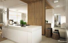 Projekt nowoczesnego wnętrza z lustrami wielkoformatowymi i zabudową z drewna