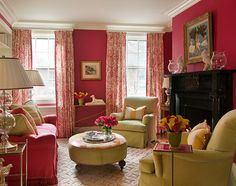 Hot pink and lime green living room - Traditional Home®