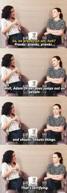 "Daisy Ridley about pranks on set of SW:TFA << *imitating Anakin* ""WHAT things?"" AND DID ANYBODY NOTICE THE R2-D2 WATER COOLER?!?!?!"