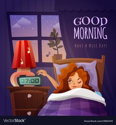 Buy Good Morning Design Composition by macrovector on GraphicRiver. Good morning design composition with awakening cartoon girl and wishing nice day flat vector illustration. Editable E. Good Morning Picture, Good Morning Good Night, Morning Pictures, Good Morning Wishes, Good Morning Images, Good Morning Quotes, Morning Gif, Night Wishes, Morning Messages