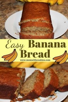 Easy Banana Bread Recipe Easy Banana Bread Recipe This moist banana bread recipe is easy to make!<br> Easy Banana Bread Recipe is the best in flavor, super soft and moist! A great way to use up overripe bananas, this bread is simple and healthy. Banana Recipes Easy, Easy Bread Recipes, Easiest Banana Bread Recipe, Dessert Simple, Food Cakes, Köstliche Desserts, Dessert Recipes, Snacks Recipes, Cookie Recipes