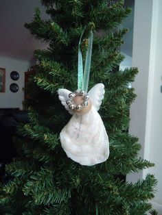 Iridescent Oyster Shell Angel Christmas Tree by CraftsbyCummins