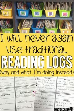 Check out why I stopped using traditional reading logs in my classroom, and learn how I changed the format of the reading log to make it intentional for comprehension and nightly reading. education Reading Logs for Comprehension and Nightly Reading Reading Homework, Reading Workshop, Kindergarten Reading Log, Reading Journals, Reading School, Home Reading Log, Reading Intervention Classroom, Weekly Reading Logs, Reading Programs For Kids