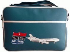 dc-10 aircraft united airlines flight bag retro style