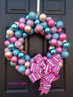Ornament wreath outdoor wreath door wreaths front door wreaths holiday wreaths wreaths for front door wreath hanger Christmas Winter Bulb Wreath. Pink wreath, blue wreath