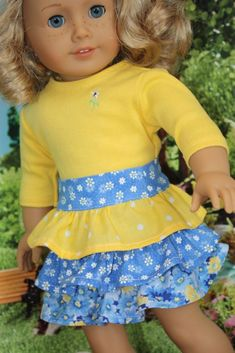 American Girl doll clothes 18 inch doll by GrandmasDollCloset American Girl Crochet, American Girl Dress, American Doll Clothes, Ag Doll Clothes, Doll Clothes Patterns, Clothing Patterns, American Girls, Doll Patterns, Girl Dolls