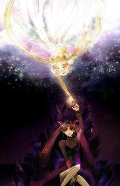 Princess Serenity and Black Lady (brain-washed Chibi-Usa) - Sailor Moon